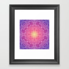 White Lace Mandala in Purple, Pink, and Yellow Framed Art Print