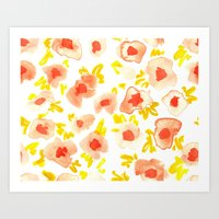 Peach and Lime Floral Art Print