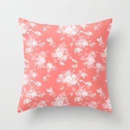Vintage elegant coral white bohemian floral Throw Pillow