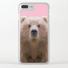 Low poly bear on pink background Clear iPhone Case