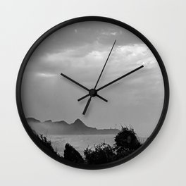 Violent Shores in Black and White Wall Clock