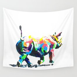 Rainbow Rhino Wall Tapestry