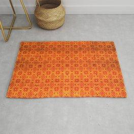 Orange Oriental Traditional Moroccan Pattern Artwork  Rug