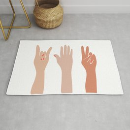 Hand Signs Female Abstract Graphic Design Rug