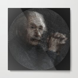 Albert Einstein, a String Art Portrait Metal Print