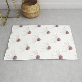 Beautiful Botanical Floral Pattern With Detailed Colourless Coneflower Flowers Rug