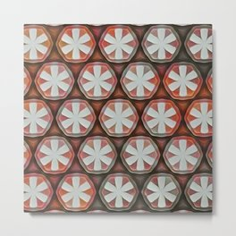 Flower Octagons White Red Metal Print