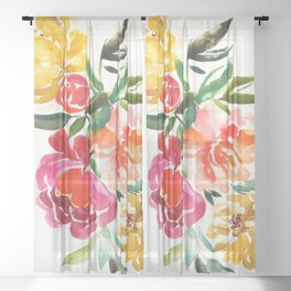 peonies: floral arrangement Sheer Curtain