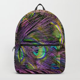art nouveau bohemian turquoise purple teal green peacock feather Backpack