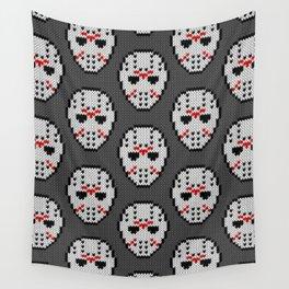 Knitted Jason hockey mask pattern Wall Tapestry