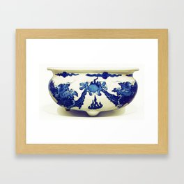 A BLUE AND WHITE 'DRAGON' CENSER QING DYNASTY, KANGXI PERIOD watercolor by Ahmet Asar Framed Art Print