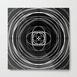 Black White Swirl Metal Print