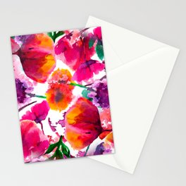 Seamless background pattern poppy, cornflowers, lily , camomile, roses with leaves and ladybird on w Stationery Cards
