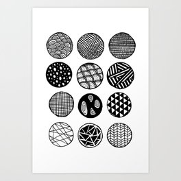 Simple Circle Patterns Collection Art Print
