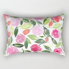Pink Floral Spread Rectangular Pillow
