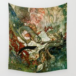 """""""King of the Mermaids"""" Fairy Tale Art by Edmund Dulac Wall Tapestry"""