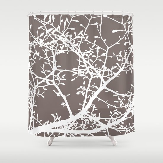 Magnolia Tree Taupe Brown Modern Branches Shower Curtain - Magnolia Tree Taupe Brown Modern Branches Shower Curtain By AleDan