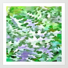 Foliage Abstract In Green and Mauve Art Print