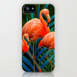TROPICAL FLORIDA PINK FLAMINGOS IN  BLUE FOLIAGE iPhone Case