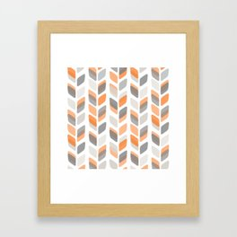 Modern Rectangle Print with Retro Abstract Leaf Pattern Framed Art Print