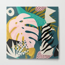 Collage contemporary tribal floral hawaiian pattern. Metal Print