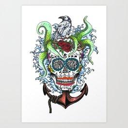 Anchor Skull Art Print