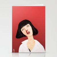 mia wallace Stationery Cards featuring Mrs Mia Wallace by Dobleu