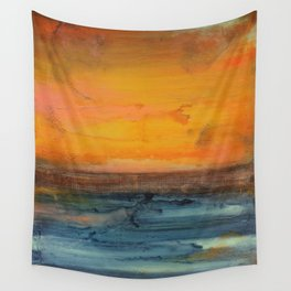 Blue and Orange - Textured Abstract Wall Tapestry