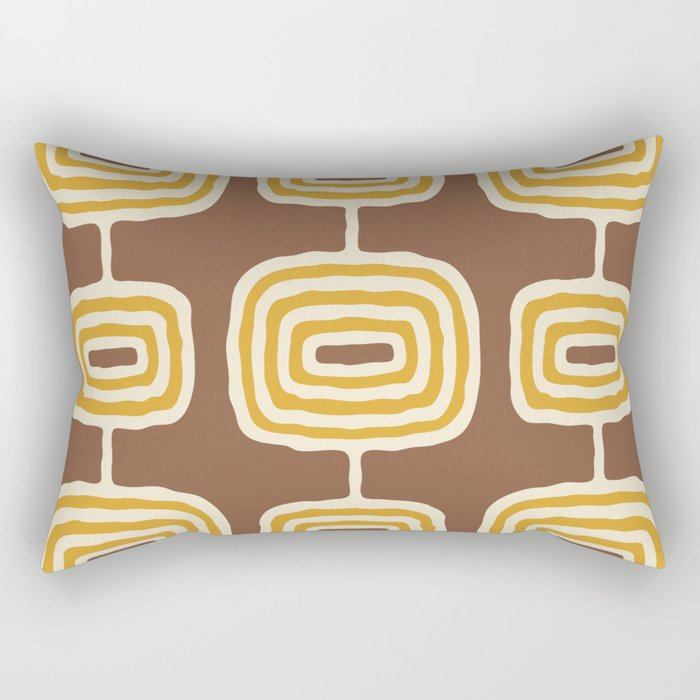Mid Century Modern Atomic Rings Pattern 264 Yellow Brown and Beige Rectangular Pillow