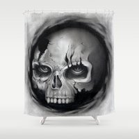skull Shower Curtains featuring Skull by Puddingshades