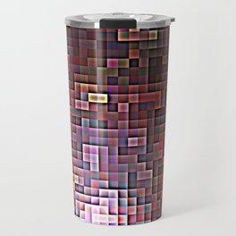 Burgundy Nebula Pixels Travel Mug
