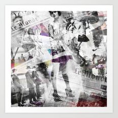 Newspaper collage Art Print