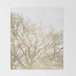Elegant botanical gold foil tree  branch Throw Blanket