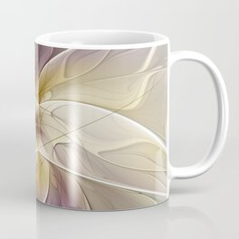 Floral Fantasy, Gold Aubergine Abstract Fractal Art Coffee Mug