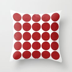 mod dots red Throw Pillow