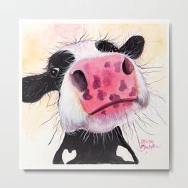 Nosey Cow ' BETTY BLUEBERRY ' by Shirley MacArthur Metal Print