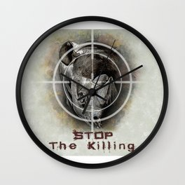 Black Rhino Stop The Killing Illustration Wall Clock