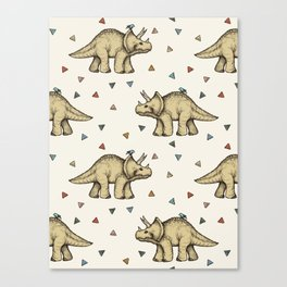 Triceratops & Triangles Canvas Print