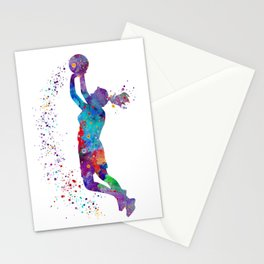 Girl Basketball Watercolor Art Print Sports Poster Nursery Home Decor Kids Room Sports Painting Gift Stationery Cards