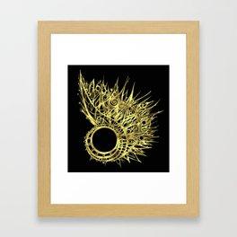 GOLDEN CURL - SHINING PAINTING ON BLACK BACKGROUND Framed Art Print