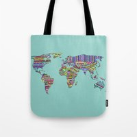 decal Tote Bags featuring Overdose World by Bianca Green