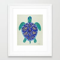 turtle Framed Art Prints featuring Sea Turtle by Cat Coquillette