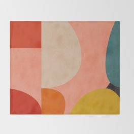 geometry shape mid century organic blush curry teal Throw Blanket