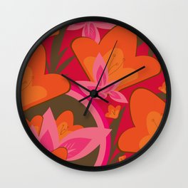 Exotic Flowers Wall Clock
