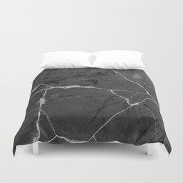 Black minimal marble Duvet Cover