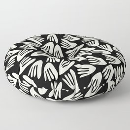 Papier Découpé Modern Abstract Cutout Pattern in Almond Cream and Black Floor Pillow