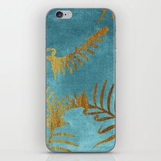 Golden cycas leaves on turquoise canvas iPhone Skin