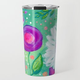 White Flowers, Purple Flowers, Floral Painting for Girl, Nursery Decor, Green, Blue, Coral Art Travel Mug