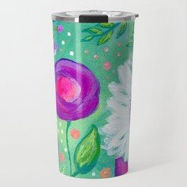White Flowers, Purple Flowers, Floral Painting for Girl, Nursery Decor, Green, Blue, Coral Art Travel Mug