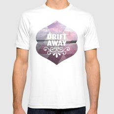 Drift away - Romantic typography quote print MEDIUM White Mens Fitted Tee